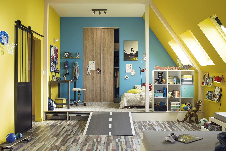 une chambre d 39 enfant originale et pratique leroy merlin. Black Bedroom Furniture Sets. Home Design Ideas