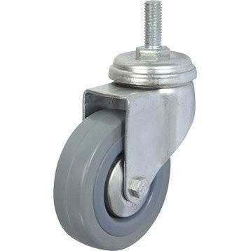 Roulette pivotante à tige filetée, Diam.75 mm