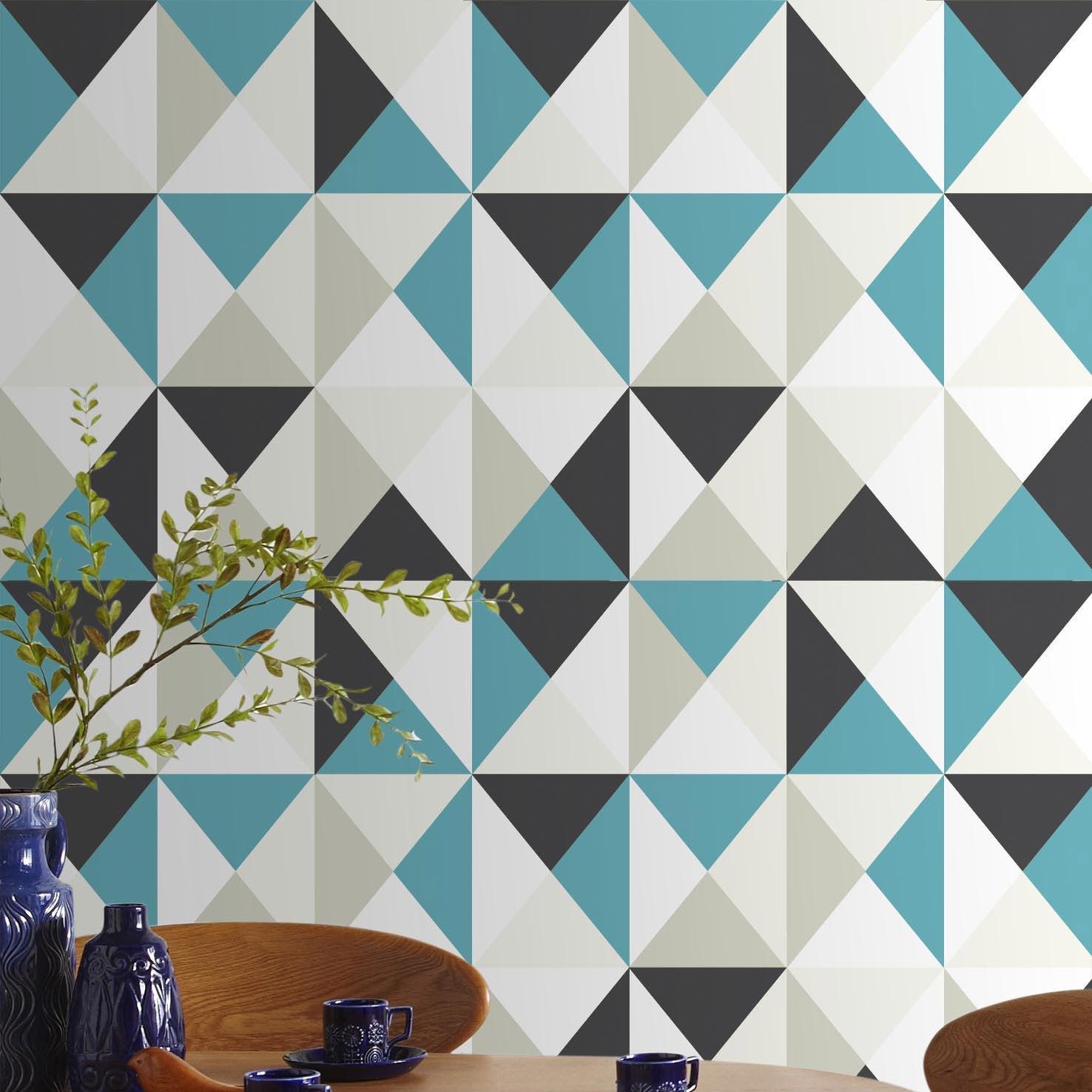 Parfait Papier Peint Intissé Polygone Bleu ...