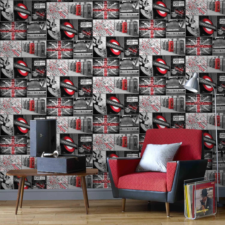 Papier peint papier London travel gris | Leroy Merlin