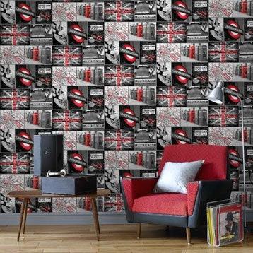 Papier peint papier London travel gris