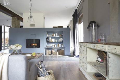 Salon bleu avec mur de rangement