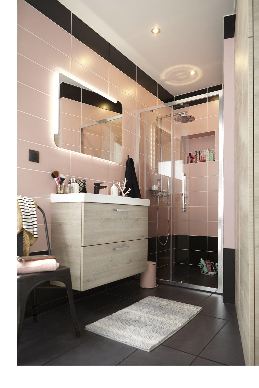 Une salle de bains pour fille en rose et noir leroy merlin for Salle de bain noir et rose