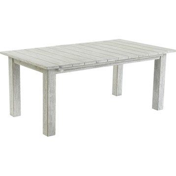 Table de jardin Vintage rectangulaire blanchi 10 personnes