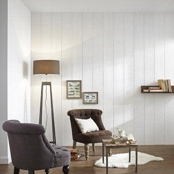 Lambris pin brossé blanc, L.260 x l.19.5 cm, Ep.20 mm