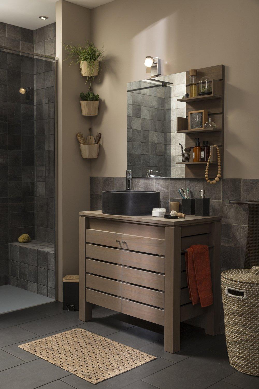 une salle de bains pleine de charme et de naturel leroy merlin. Black Bedroom Furniture Sets. Home Design Ideas