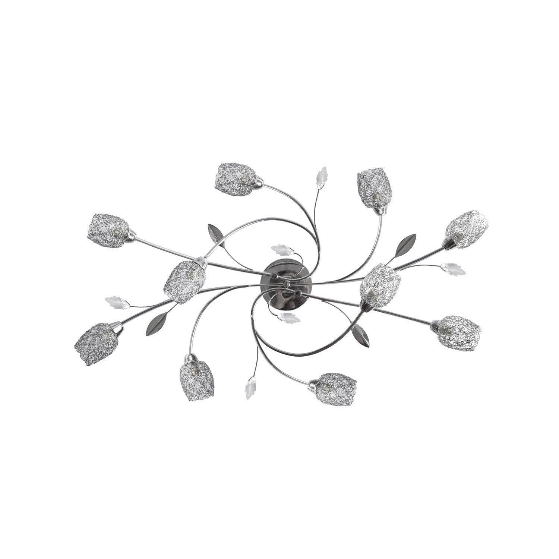 Plafonnier classique chic g9 Adriana métal Chrome, 10 x 28 W SEYNAVE