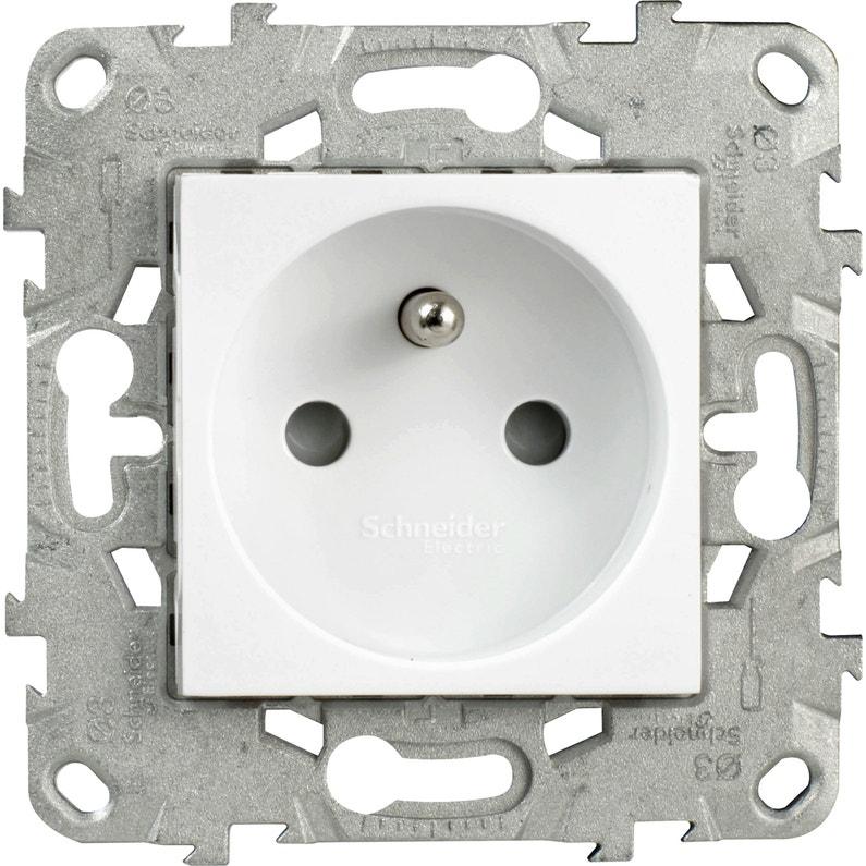 Prise Avec Terre Unica Schneider Electric Blanc