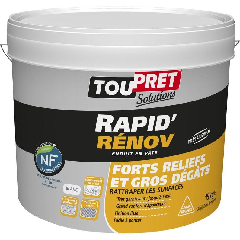 Enduit De Rénovation Et Garnissant Pâte Rapid Rénov Blanc Toupret 15 Kg