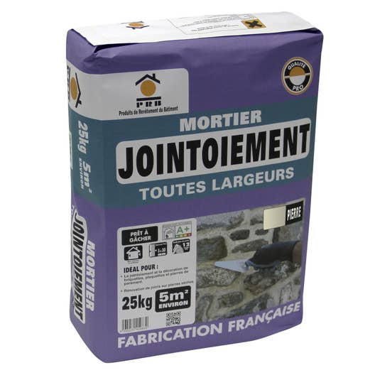 Mortier de jointoiement ton pierre prb 25 kg leroy merlin - Mortier colle carrelage exterieur ...