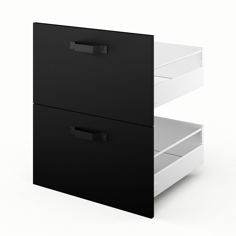 2 tiroirs de cuisine noir Mat edition, L.60 x H.70 x P.55 cm