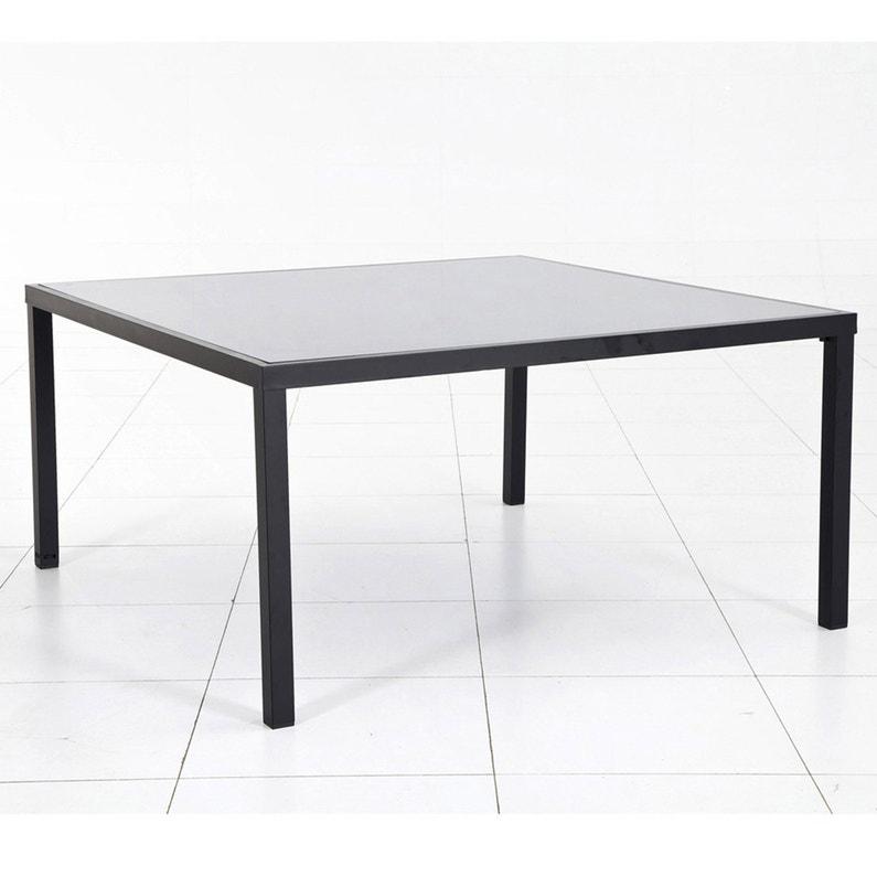 Table de jardin HESPERIDE Piazza carrée noire 6 personnes