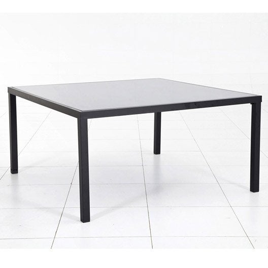 Table de jardin piazza carr e noire 6 personnes leroy merlin for Table exterieur carre 8 personnes