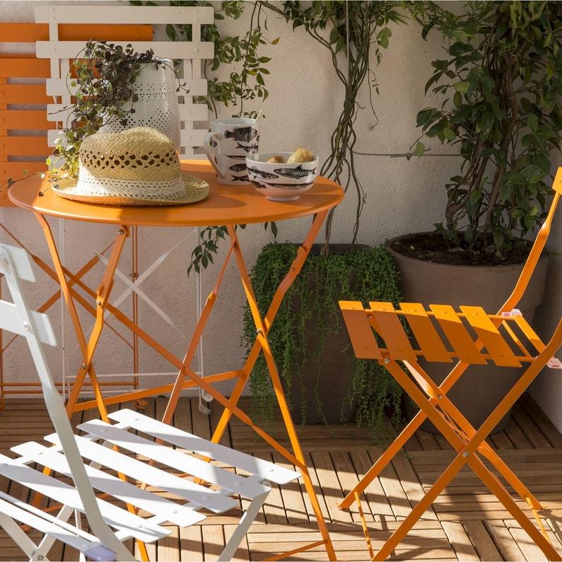 Table De Jardin De Repas Flore Ronde Orange 2 Personnes