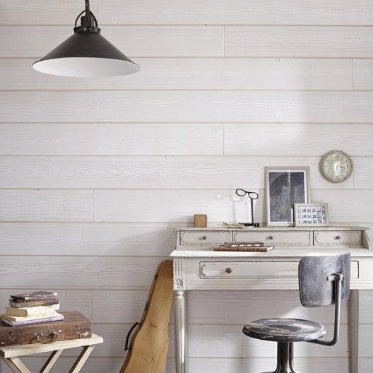 lambris sapin bross essuy blanc x cm mm leroy merlin. Black Bedroom Furniture Sets. Home Design Ideas