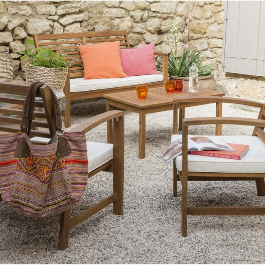 Salon bas de jardin acacia bois marron 1 table 1 banc 2 for Salon de jardin bas bois