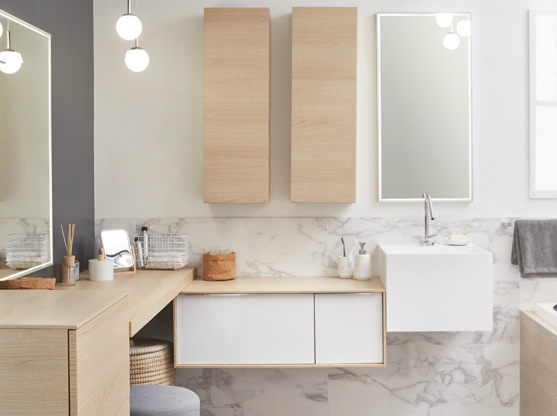 Perfect bien choisir son meuble de salle de bains with for Banc de salle de bain leroy merlin