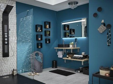 miroir salle de bain avec prise lectrique good electricit les normes pour la salle de bain. Black Bedroom Furniture Sets. Home Design Ideas