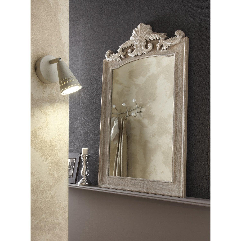 Miroir rectangulaire Trumeau landwood, gris, l.63 x H.102 cm