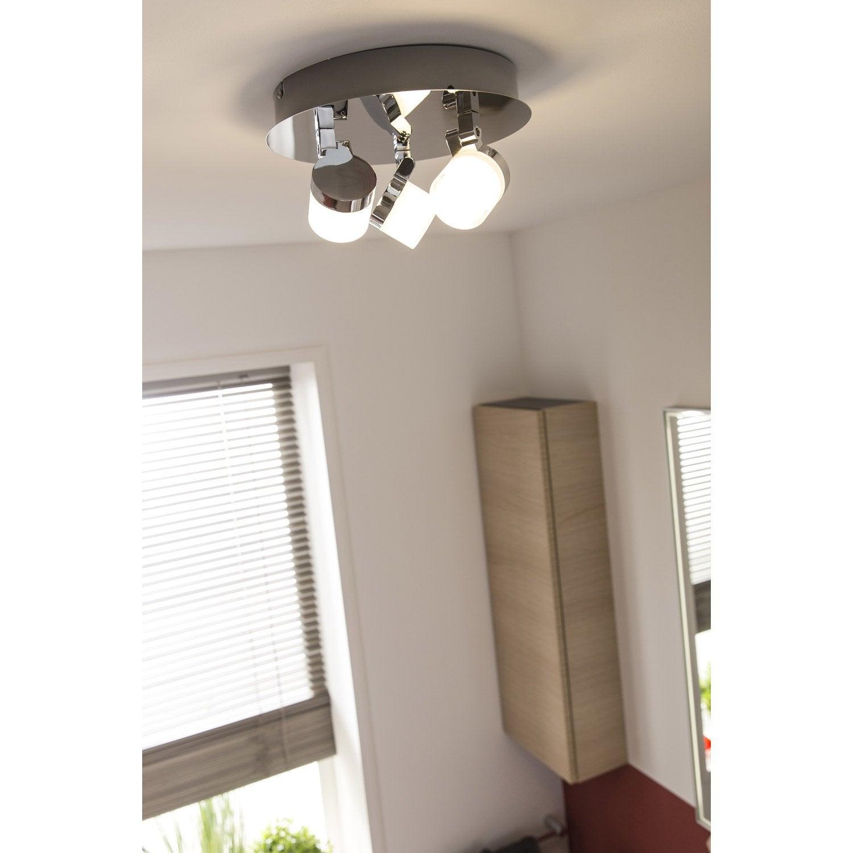 Plafonnier 3 spots led intégrée, design, métal chromé brillant, INSPIRE Coos