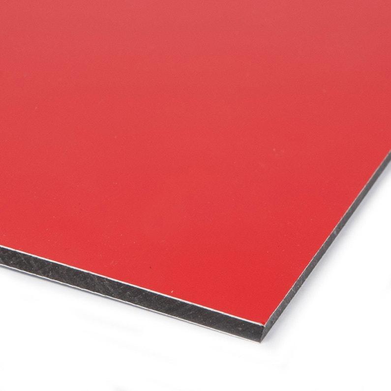 Plaque Pvc Expansé Composite Aluminium Rouge Lisse L100 X L60 Cm Ep3 Mm