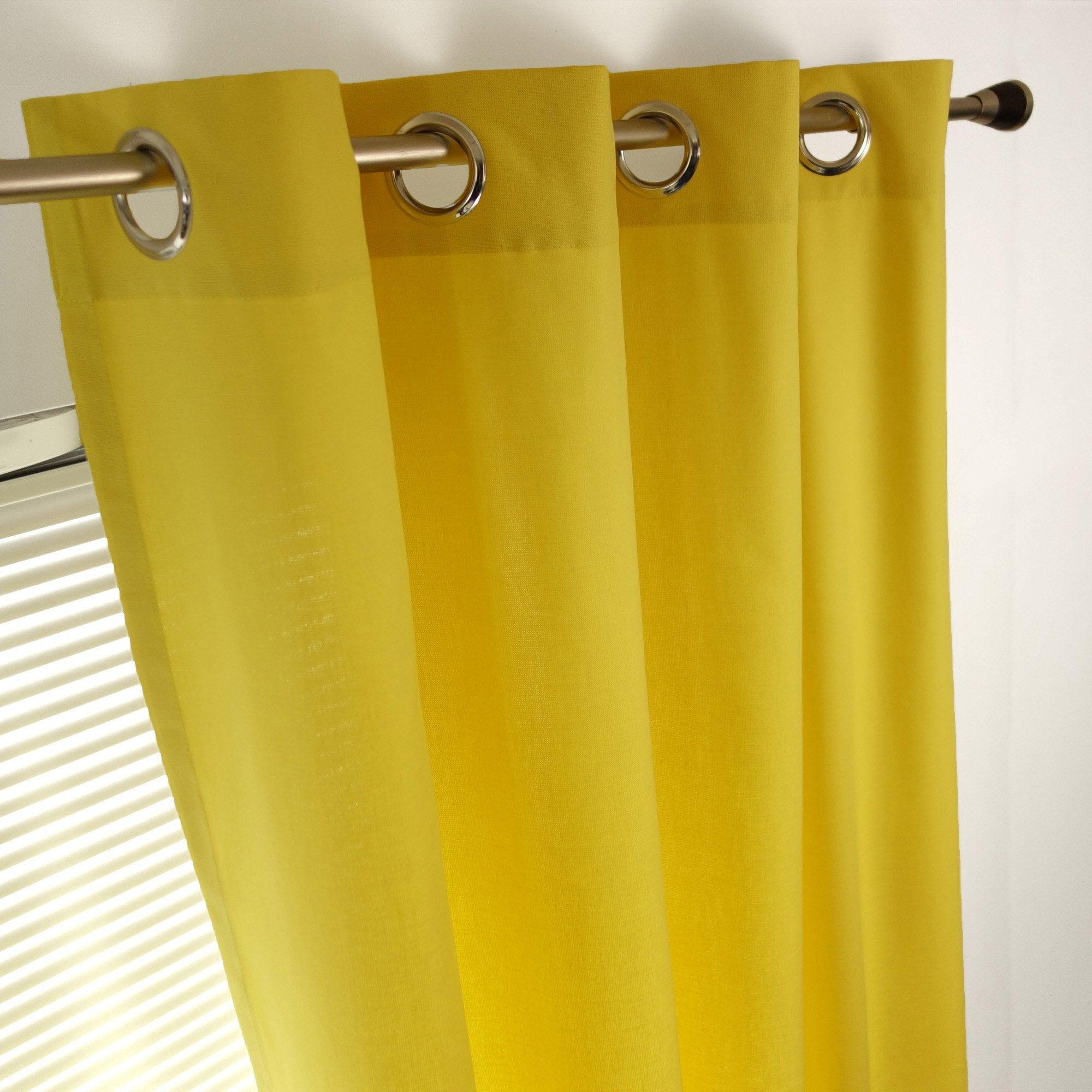 Rideau tamisant, coton, Sunny jaune l.140 x H.260 cm