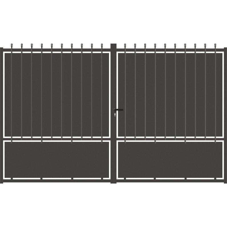 Portail battant aluminium crete festonne gris anthracite cm x cm leroy merlin for Portail battant alu gris