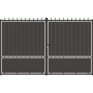 Portail battant aluminium Crete festonne gris anthracite, l.300 cm x H.185 cm