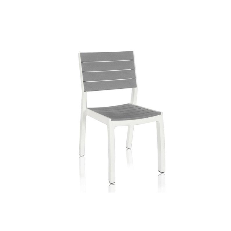 Chaise de jardin en résine Harmony gris blanc | Leroy Merlin