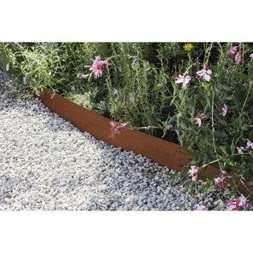 Bordure à planter Aspect rouille acier galvanisé marron, H.13 x L.118 cm