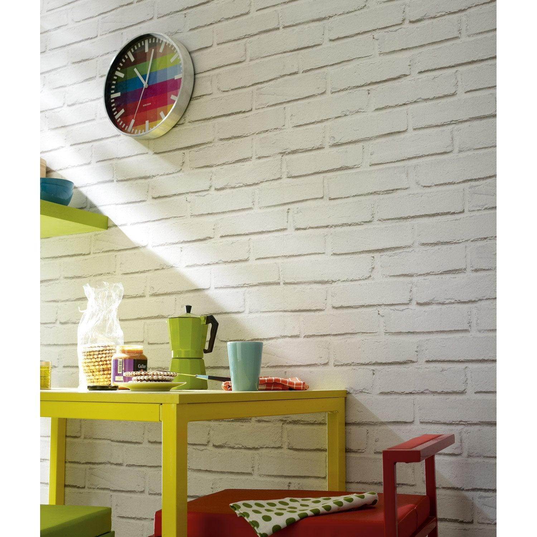 Papier peint blanc Brique loft