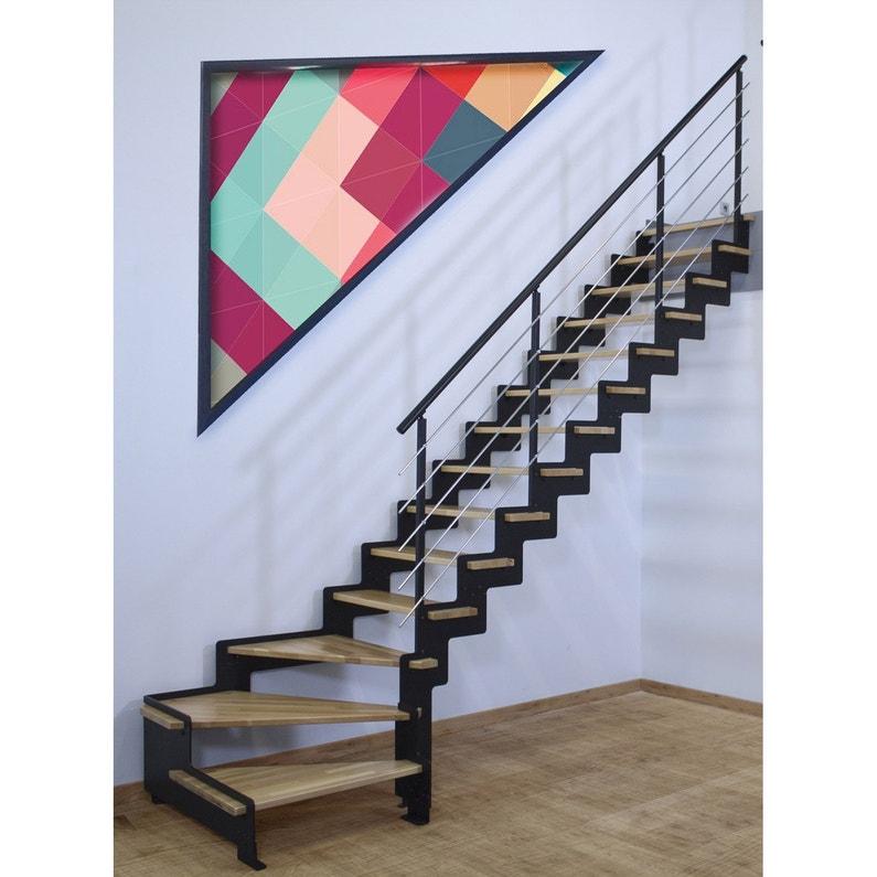 Escalier Quart Tournant Structure Acier Marche Bois Lamelle Colle