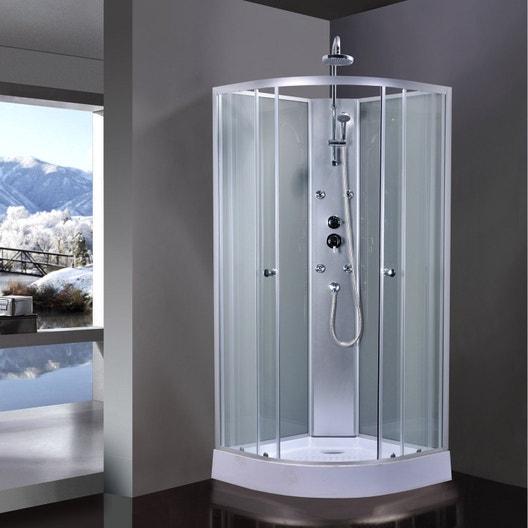 cabine de douche 1 4 de cercle x cm gris. Black Bedroom Furniture Sets. Home Design Ideas