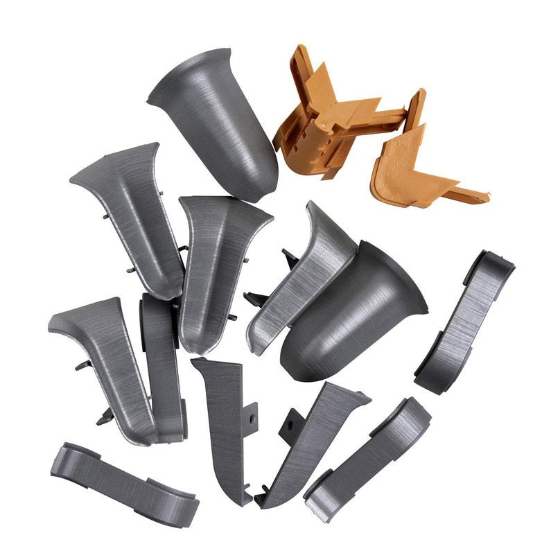 Kit Accessoires Finition De Plinthes Passfil Chêne Gris Aluminium