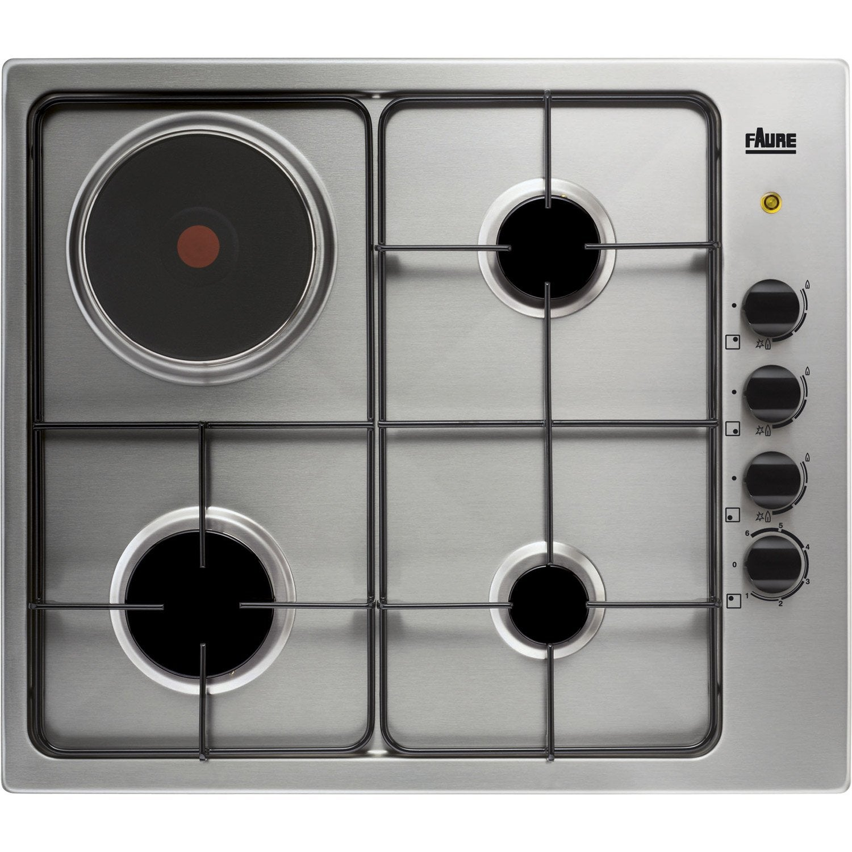 plaque de cuisson mixte 4 foyers inox faure fgm62444xa leroy merlin. Black Bedroom Furniture Sets. Home Design Ideas