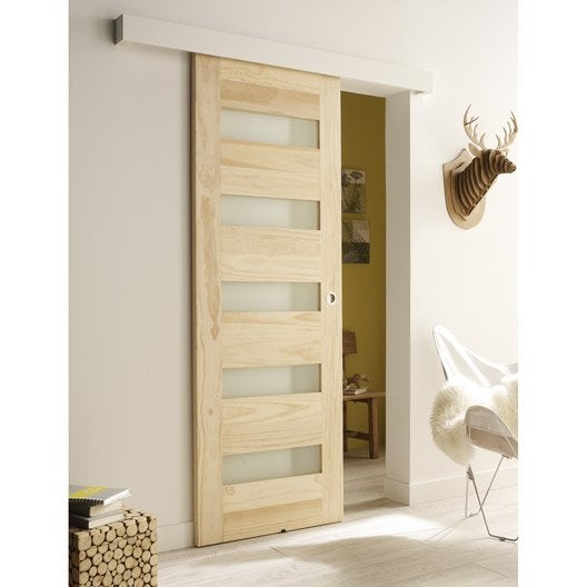 Ensemble porte coulissante mexico en pin avec rail tango for Porte coulissante interieur leroy merlin