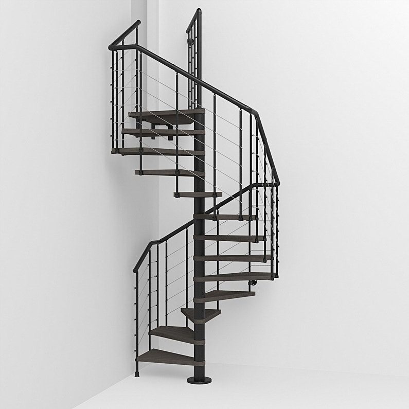 Escalier Colimacon Carre Cubetube Structure Acier Marche Bois