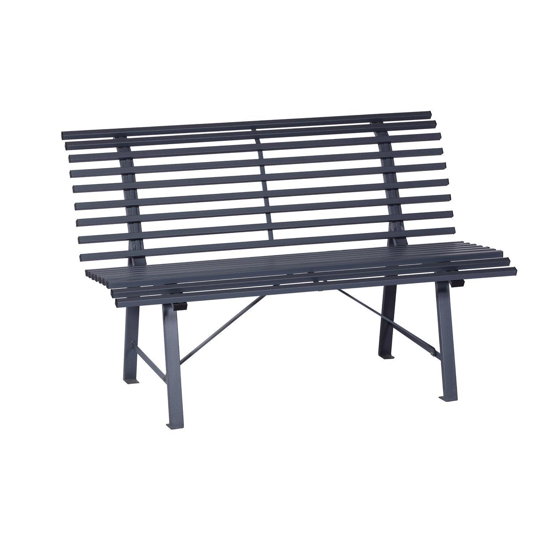 banc 3 places de jardin en acier gris leroy merlin. Black Bedroom Furniture Sets. Home Design Ideas
