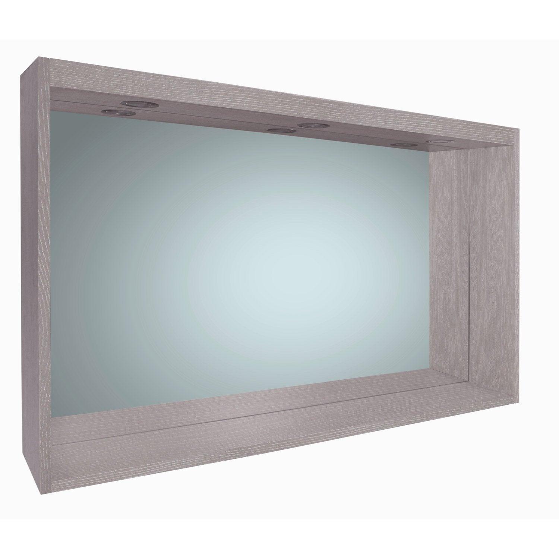 miroir avec clairage int gr l 120 cm sensea nordic. Black Bedroom Furniture Sets. Home Design Ideas