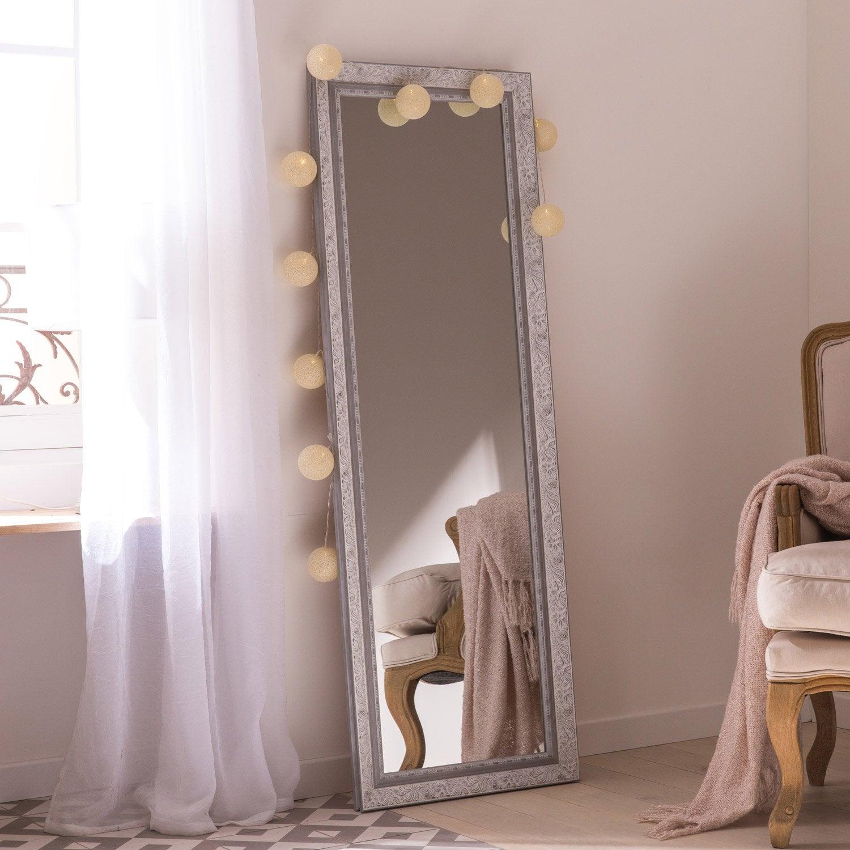 Miroir Louise, gris, l.40 x H.140 cm