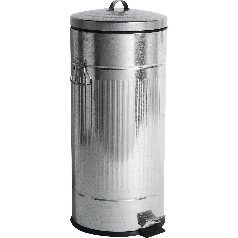 Poubelle de cuisine à pédale métal métal, 30 l