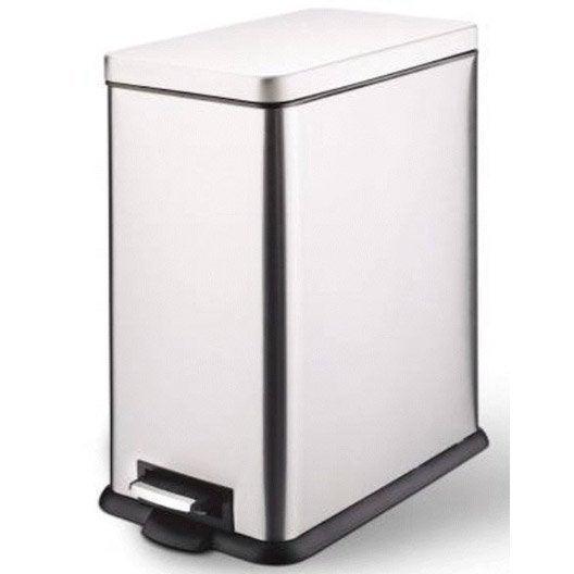 poubelle de cuisine p dale m tal m tal 40 l leroy merlin. Black Bedroom Furniture Sets. Home Design Ideas