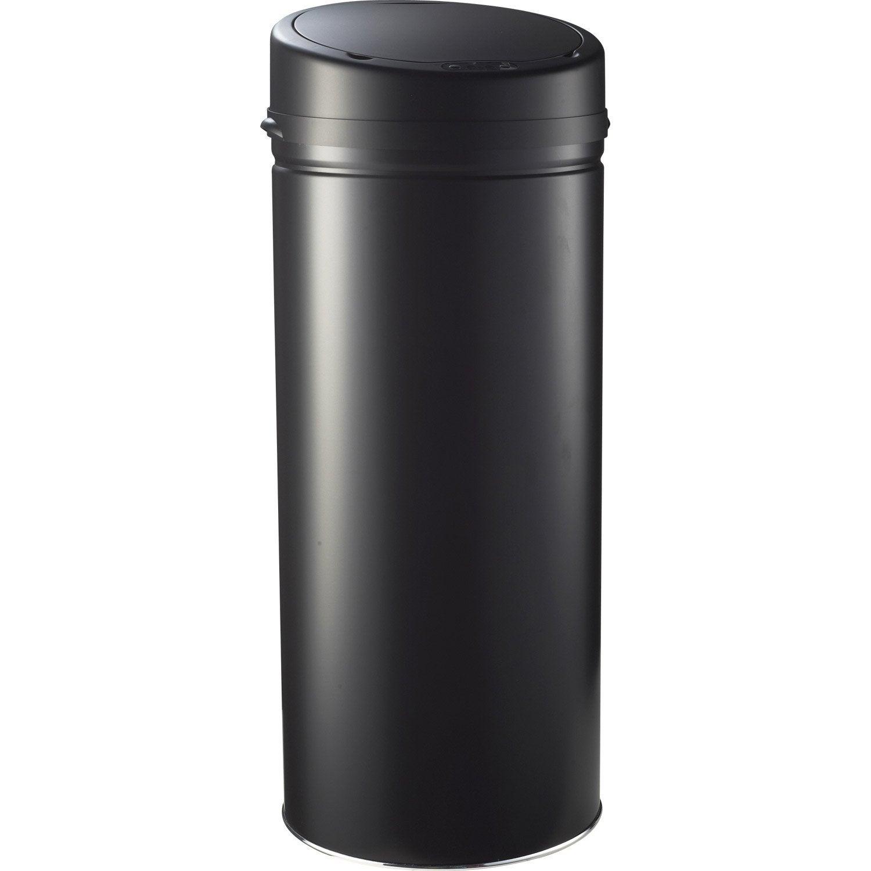 poubelle de cuisine automatique selekta plastique noir mat 42 l leroy merlin