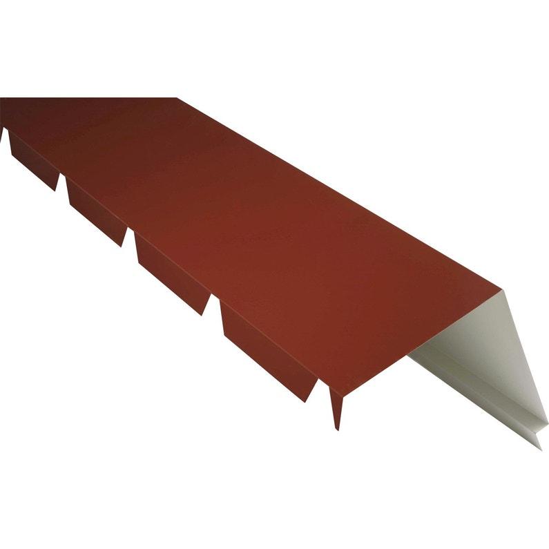 Faîtière Sur Mur Pour Plaque Nervurée 63100 Rouge Ral 8012 L21 M