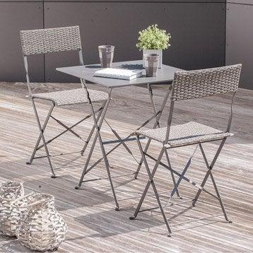 Salon de jardin Mezzo acier gris 1 table gueridon + 2 chaises