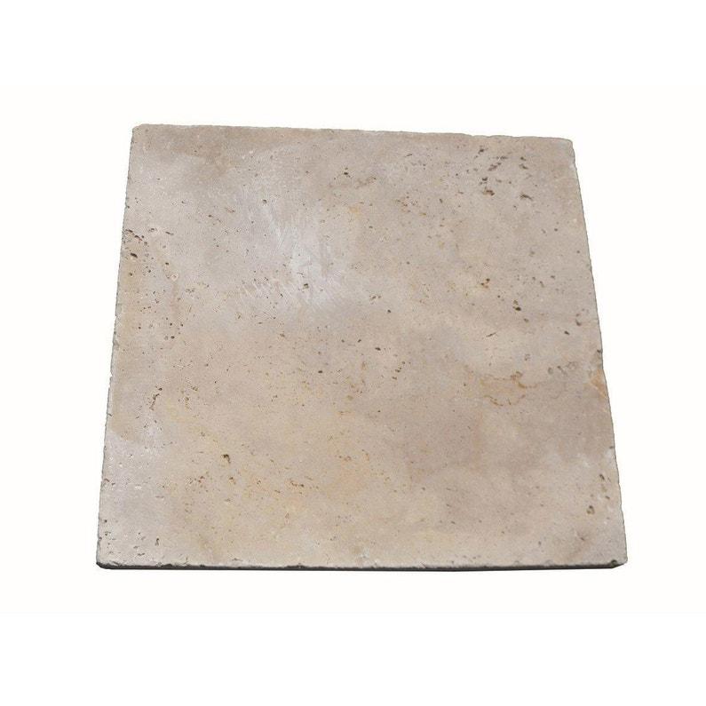 Dalle En Calcaire Travertin Beige L 40 6 X L 40 6 Cm Ep 12 Mm