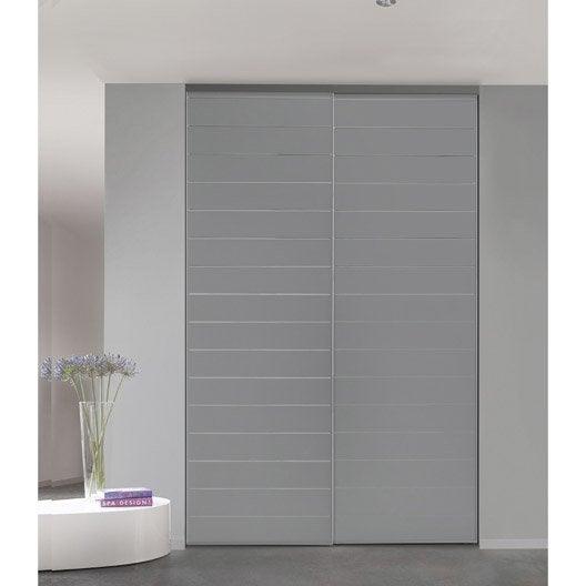 Porte de placard coulissante sur mesure optimum uno de 80 1 100 cm leroy - Largeur porte coulissante placard ...