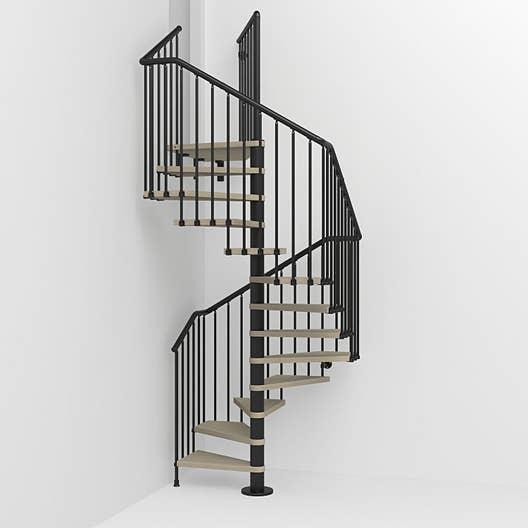 Escalier colimaçon carré Cube structure acier marche bois   Leroy Merlin