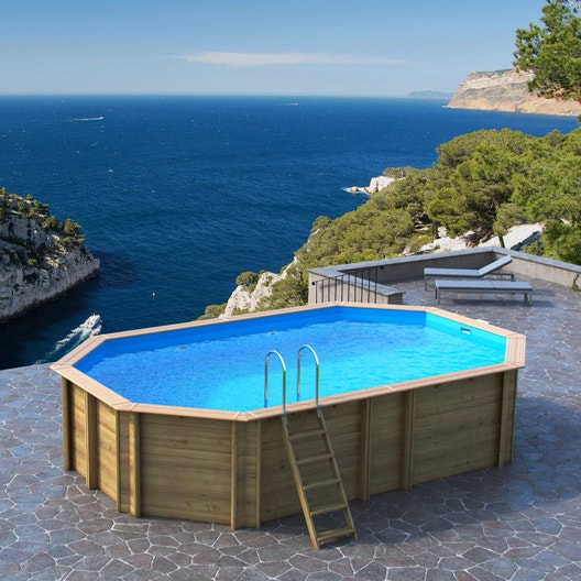 piscine hors sol bois odyssea proswell by procopi l 6 4 x l x h m leroy merlin. Black Bedroom Furniture Sets. Home Design Ideas