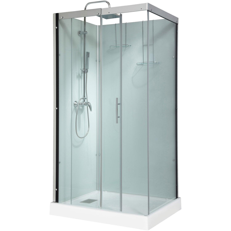 cabine de douche rectangulaire 110x80 cm thalaglass 2 mitigeur leroy merlin. Black Bedroom Furniture Sets. Home Design Ideas